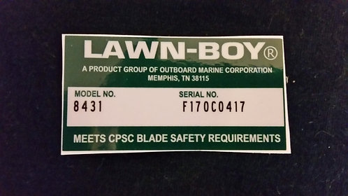 LAWN-BOY DECK DECAL MODEL NO. 8431 & SERIAL NO. F170CO417