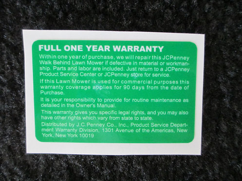 LAWN-BOY JCPENNEY FULL ONE YEAR WARRANTY DECAL