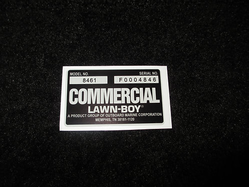 LAWN-BOY COMMERCIAL DECK DECAL MODEL NO. 8461 & SERIAL NO. F0004846