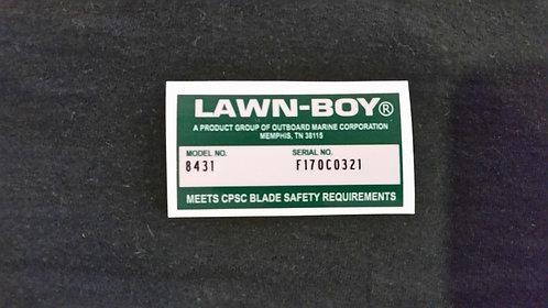 LAWN-BOY DECK DECAL MODEL NO. 8431 & SERIAL NO. F170C0321