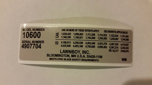 LAWN-BOY 10600 MODEL SERIAL REPLACEMENT DECAL