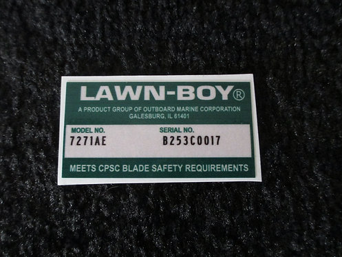LAWN-BOY DECK DECAL MODEL NO. 7271AE  & SERIAL NO. B253C0017