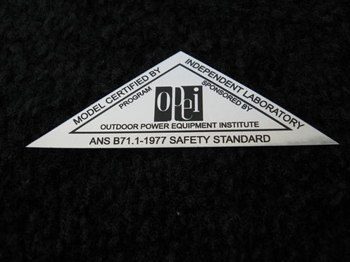 LAWN-BOY 1977 OPEI SILVER SAFETY STANDARD DECAL