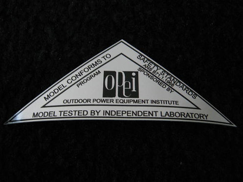 LAWN-BOY 1968 SILVER OPEI SAFETY STANDARDS DECAL