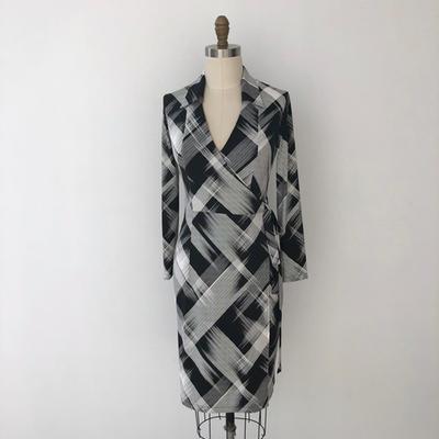 Trudy True Wrap in black stripe dress