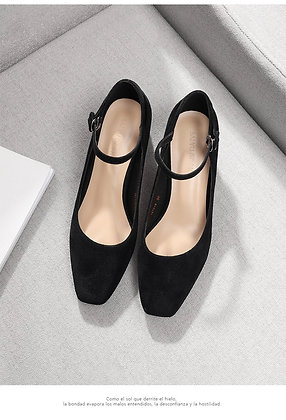 Square High Heels with ankle strap Mary Janes