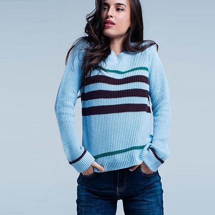 Blue Rib Stitch Sweater With Stripes