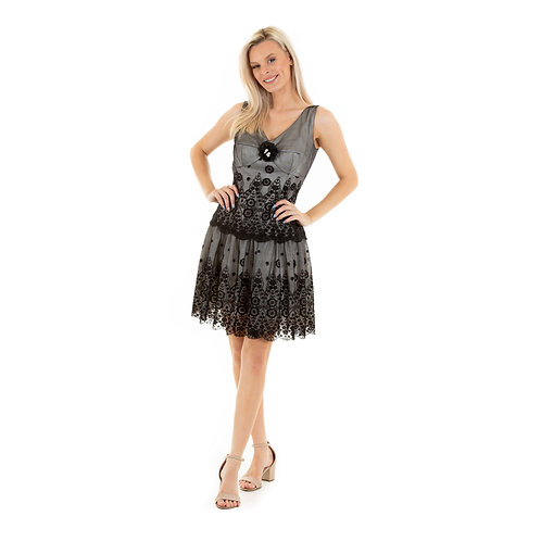 black & white lace Sabrina dress mini