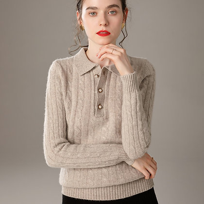 Cashmere Mix Sweater with polo collar with cable stitch