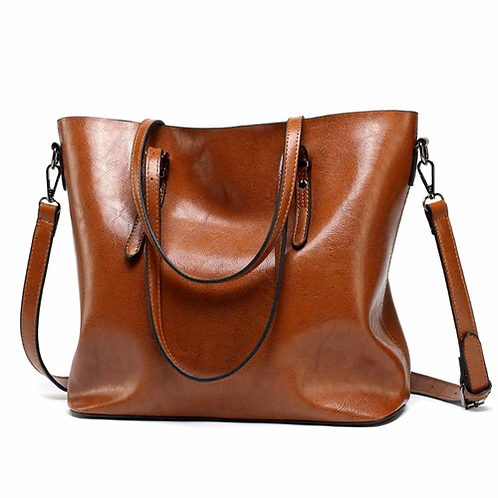 Casual Large Tote in neutral tones; black dark red, brown and wine red