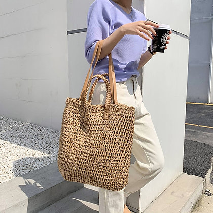 Casual Shoulder Bags in Wicker/ Rattan design and Summer Beach Bag