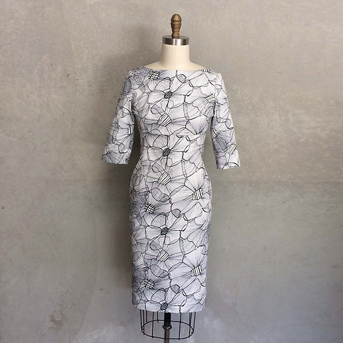 Hillary Dress:floral outline