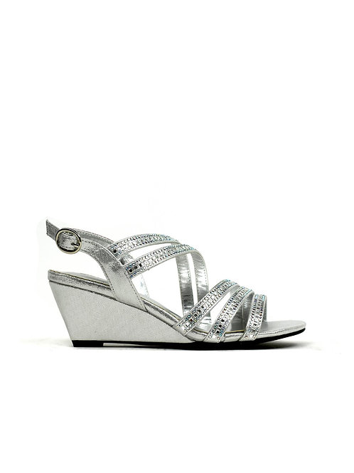Multi-Strap Evening Wedge in Silver