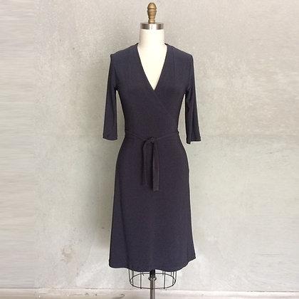 Charcoal Faux wrap dress:3/4 sleeve