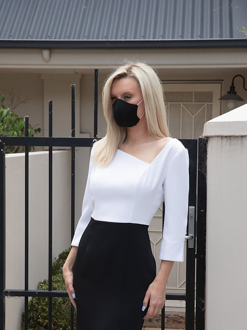 Classic Face designer face mask:black cotton