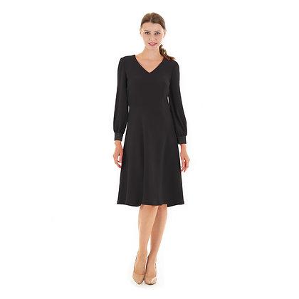 V-neck flared dress, long sleeve:Rita dress