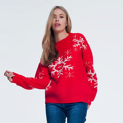 Red Snowflake Sweater-Christmas in July sweater
