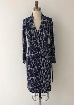 navy stripe true wrap dress