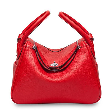 Leather Female Tote Bag :  with handle square shape 2 compartments