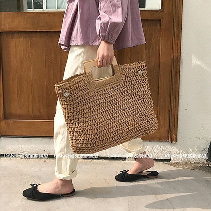beach and shopping Large Capacity Tote/ Wicker with  handle in 6 variations