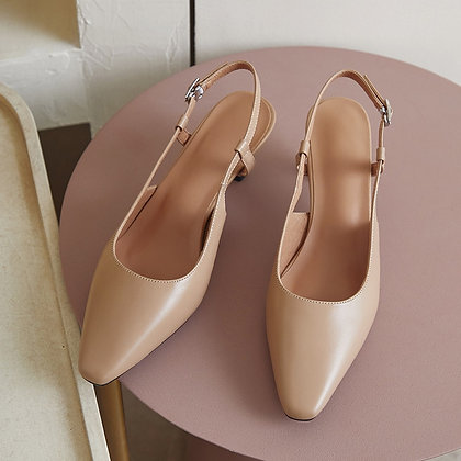 Leather Buttoned  Sling-backHigh Heels Pumps in 3 colours