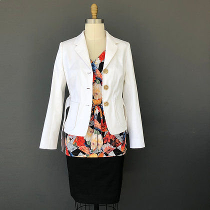 cotton tailored jacket with 3 buttons and belt: Lucia jacket