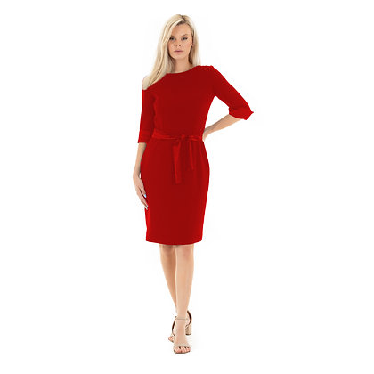 Classic Sheath dress with boat neckline:Florence dress:Red
