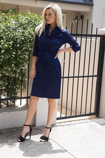Abigail shirt-dress, a cotton/spandex shirt dress with bodice pleating