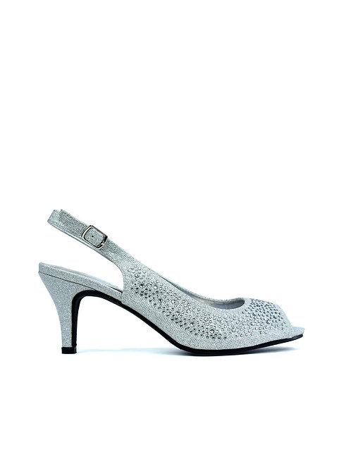Silver Sparkle Evening Sling-back Shoe