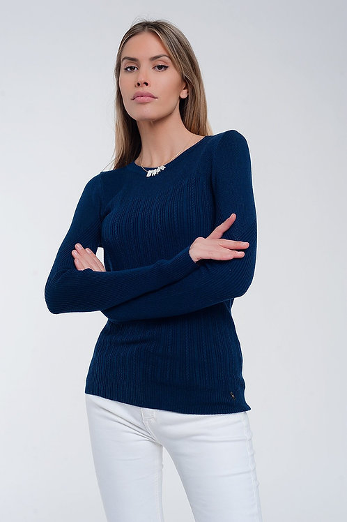 Crew Neck Ribbed Sweater in Navy
