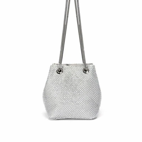 Draw-string Evening Bag in metallic finish in 3 colours