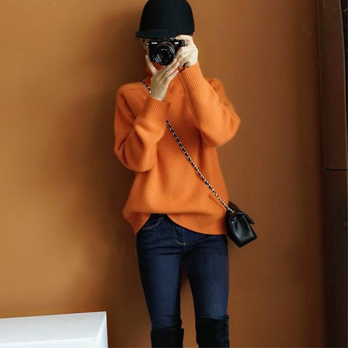 New High-Collar Cashmere MIX Sweater Loose Fit Pullover:orange