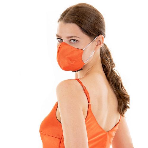 Classic Face designer face mask :orange satin
