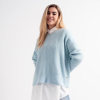 Turquoise Round Neck Boyfriend Sweater