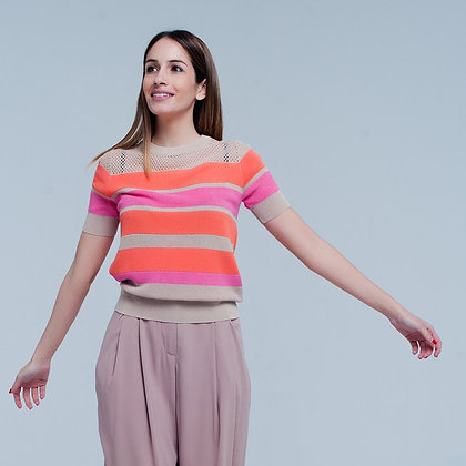 Striped sweater in Neutral, pink and orange contracts with short sleeve