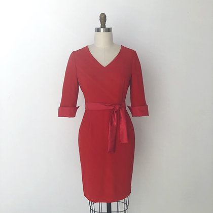 Red satin contrast  Fitted dress:Milano dress