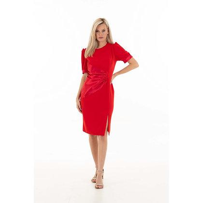Red Sheath dress with drape: Janice dress