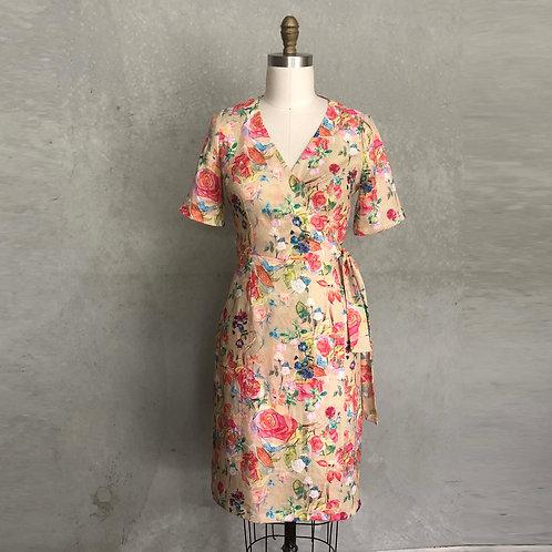 Emma Wrap dress:linen,floral,day dress