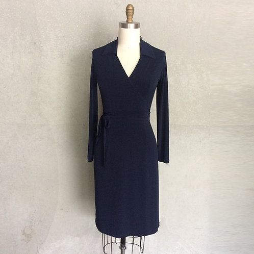 Navy Trudy dress: long sleeve