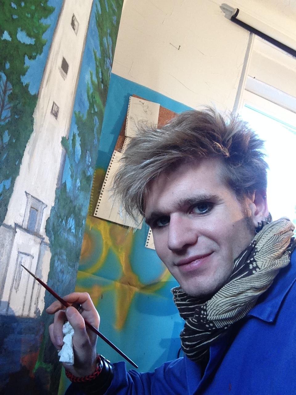 work in the studio of art