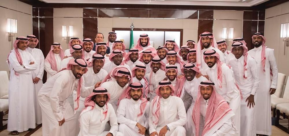Saudi Arabia World Cup Russia 2018, Saudi Crown Prince meeting the team