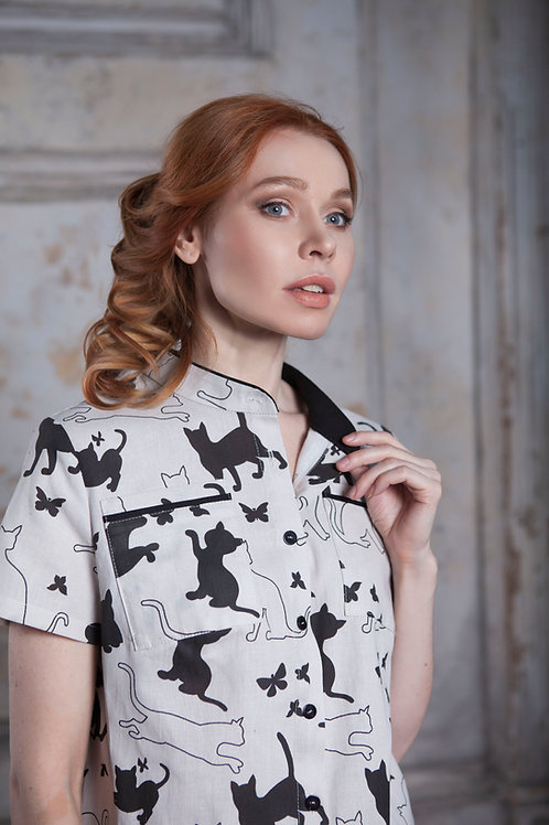 Рубашка льняная CATS