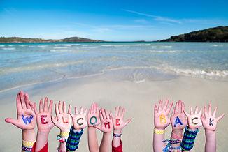 Children Hands Building Word Welcome Bac