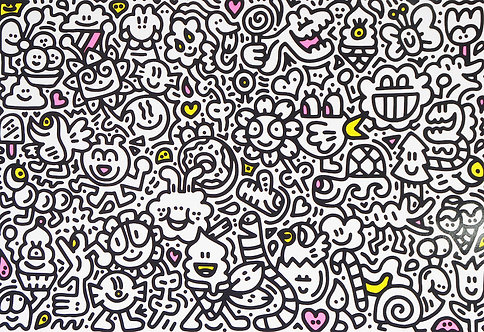 Mr Doodle 'Candy Flowers' Limited Edition Embossed Print