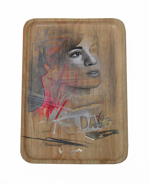 Ben Slow 'Day 7' Mixed Media on Wood