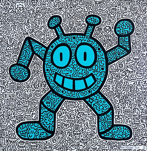 mr doodle blue robot limited edition print