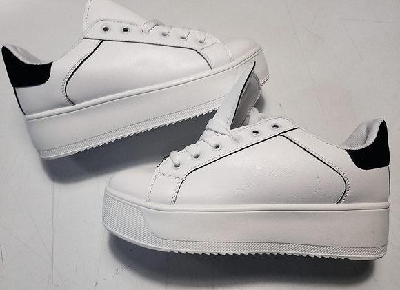 Sneakers plateau bianche inserto nero