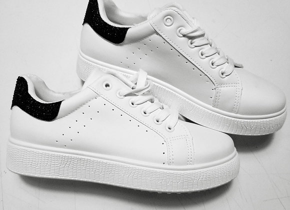 Sneakers bianche glitter neri