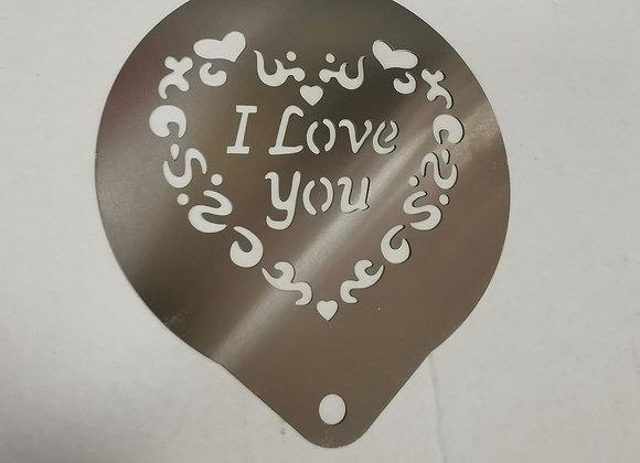 """Stencil """"i love you"""" cappuccino"""