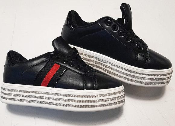 Sneakers nere plateau con brillantini